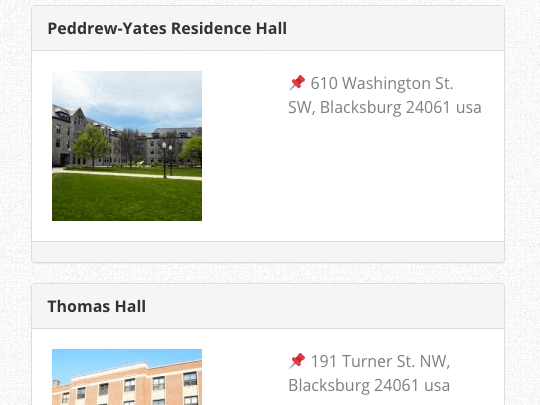 Campus Directory Pro WordPress plugin location list in stacked view