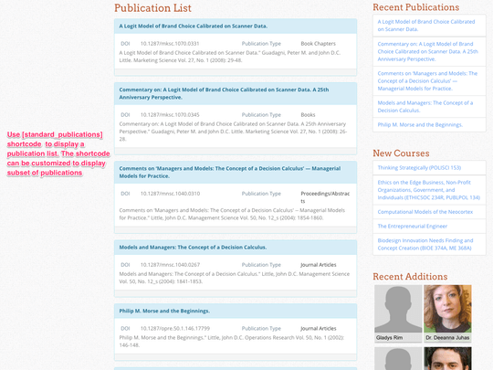 Campus Directory Pro WordPress plugin displays each publication in its own page