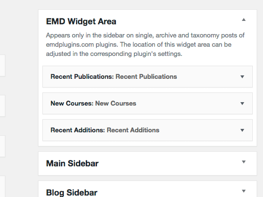 Campus Directory Pro WordPress plugin provides EMD Widget which only shows in plugin available screens