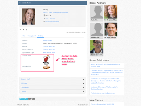 Campus Directory Pro WordPress plugin custom fields are displayed in the details tab