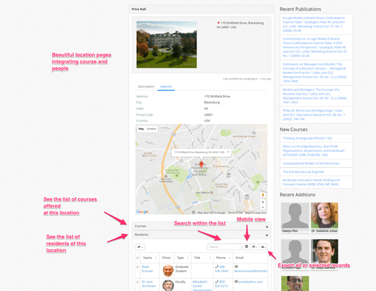 Campus Directory Pro WordPress plugin offers individual pages per location