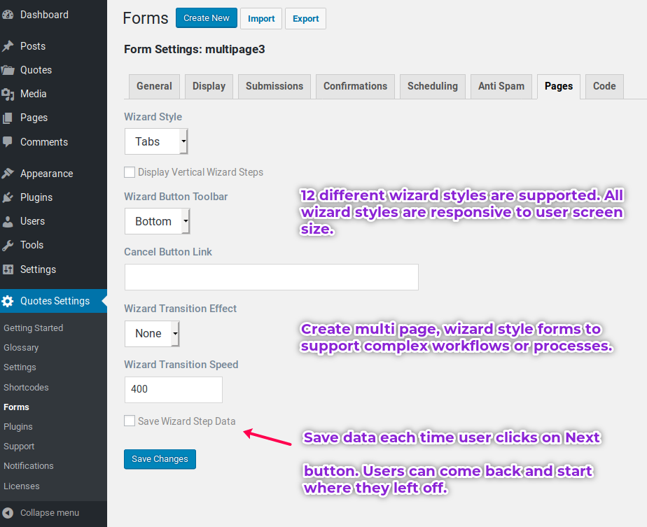 Request A Quote WordPress plugin allows to create form wizards to make data entry easy.
