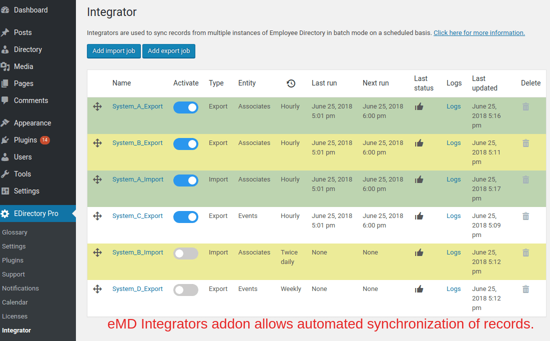 EMD Integrator addon can sync from any source using JSON files