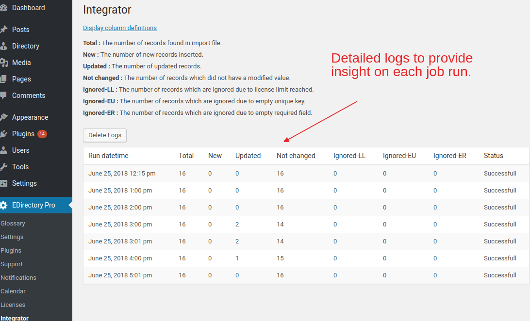 EMD Integrator Addon included extensive logging to support job audits.