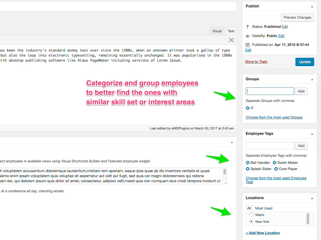 Employee Spotlight WordPress plugin - Categorize And Group Employees