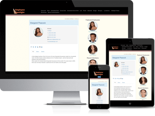 Employee Spotlight Pro WordPress plugin displays awesome looking team member profiles in any device.
