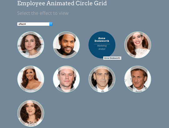 Employee Spotlight Pro WordPress plugin offers animated hover effects on grid views
