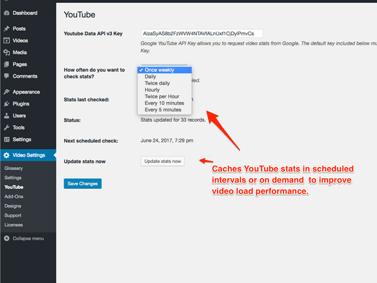 YouTube Showcase Pro caches video stats to improve page load times.