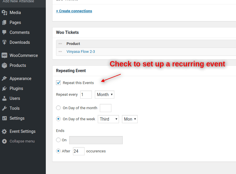 WP Easy Events supports setting up recurring events allowing many complex scenarios.