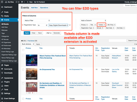 WP Easy Events Easy Digital Download enables ticket column after plugin activation