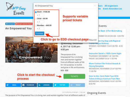 WP Easy Events Easy Digital Download extension offers a transparent smooth checkout process