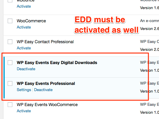 WP Easy Events Easy Digital Download extension must be activated after EDD and WPEE