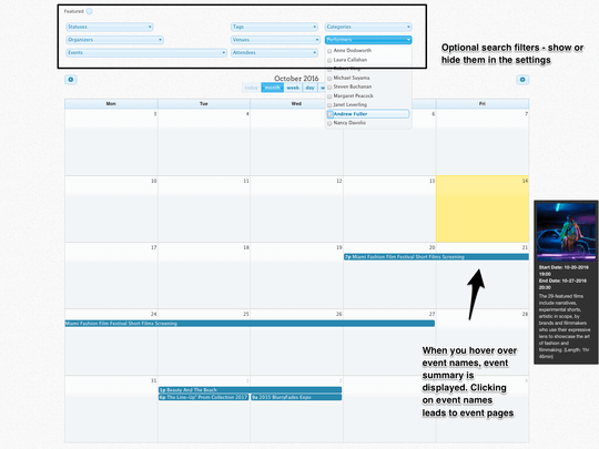 WP Easy Events Pro WordPress plugin offers fully customizable event calendar
