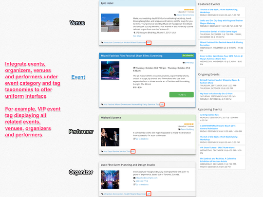 WP Easy Events Pro WordPress Plugin offers Integration of events organizers, venues and performers under event category and tag taxonomies