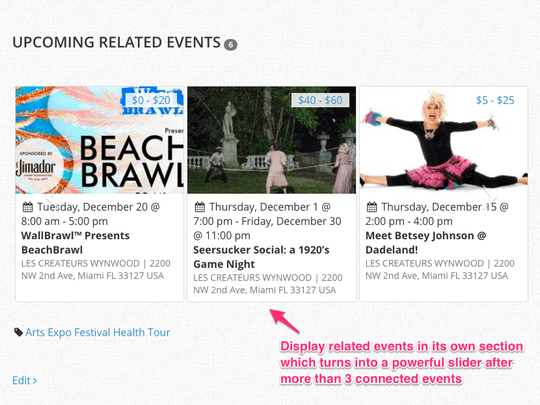 WP Easy Events Pro WordPress Plugin displays upcoming related events in event pages as a slider