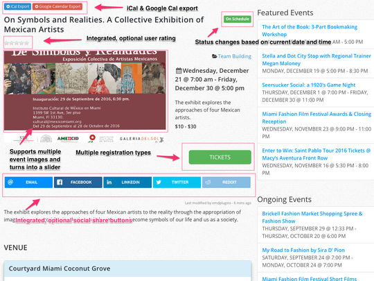 WP Easy Events Pro WordPress Plugin offers fully featured event pages