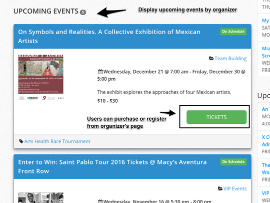 WP Easy Events Pro WordPress plugin allows event organizers host multiple events at the same time. Only upcoming organizer events are displayed