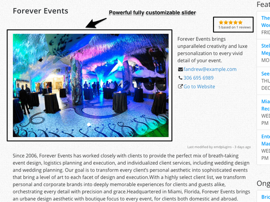 WP Easy Events Pro WordPress plugin allows to display event organizers easily.