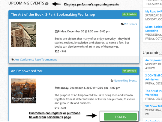 WP Easy Events Pro WordPress plugin offers ticket purchases or registration in performer pages