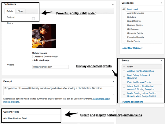 WP Easy Events Pro WordPress plugin supports multiple images and optional rating per performer