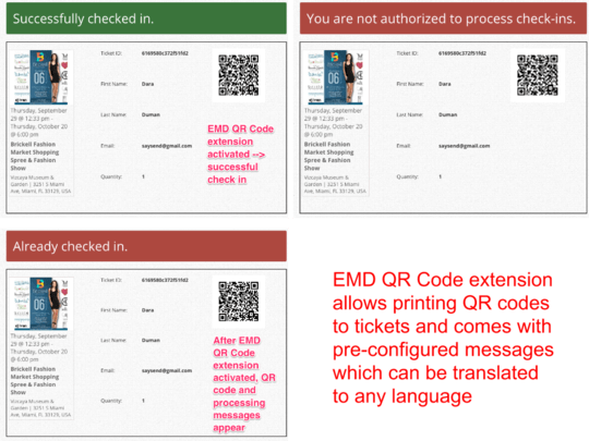 Enables QR code processing WP Easy Events WordPress plugin community edition
