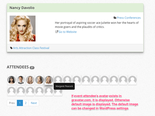 WP Easy Events Pro WordPress plugin can display attendee avatars
