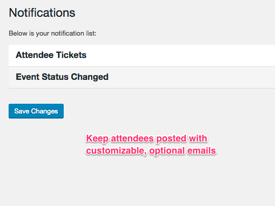 WP Easy Events Pro WordPress plugin allows customizable, optional event attendee emails