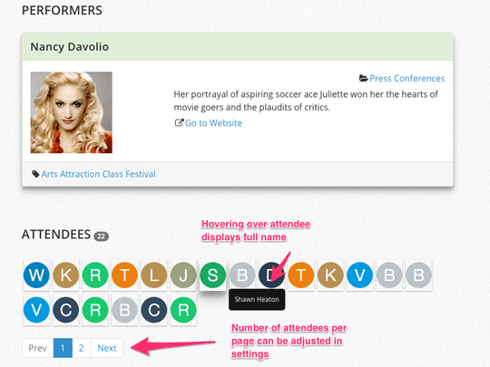 WP Easy Events Pro WordPress plugin can display attendee initials