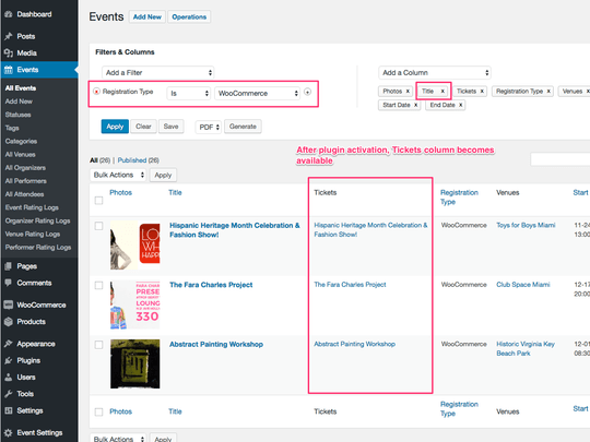 WP Easy Events WooCommerce extension allows filtering of events and connected tickets
