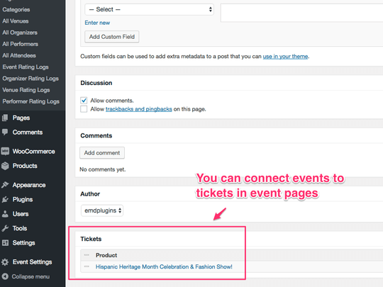 WP Easy Events WooCommerce extension allows connecting tickets in event pages easily