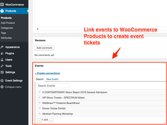 WP Easy Events WooCommerce extension allows linking of tickets to events easily